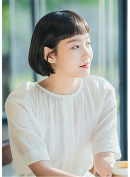 Women's Short Bob Natural Straight Synthetic Hair With Neat Bangs Capless Wigs 10 Inch