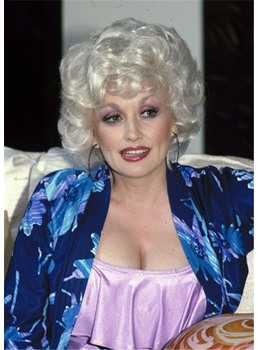 Dolly Parton Hairstyle Silver White Layered Wavy Synthetic Hair Wigs 12 Inch