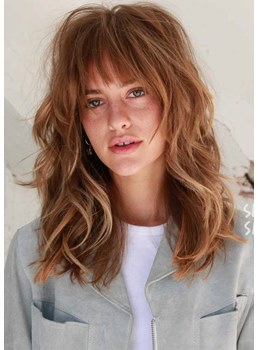 Women's Cute & Easy Medium Hairstyles for Shoulder Length Wavy Synthetic Hair Capless Wigs 18Inch