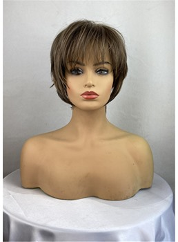 Short Choppy Haircuts Mix Color Wavy Synthetic Hair With Layers Bangs Capless Wigs 12 Inches
