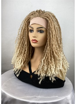 Twist Hairstyle Blonde Color Headband Synthetic Hair Wigs With Band 18 Inches