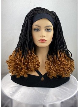 Two Tone Blonde Braids Hairstyle Headband Synthetic Wavy HairWigs With Band 20Inches