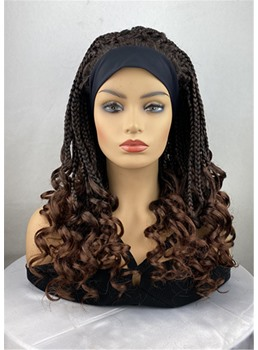 Ombre Brown Braids Hairstyle Headband Synthetic Wavy HairWigs With Band 24 Inches