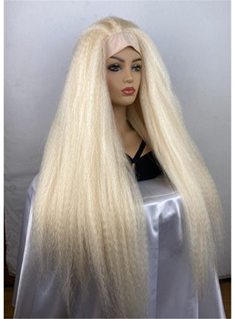 Long Blonde Color Yaki Straight Headband Synthetic Hair Wigs With Band 18 Inches