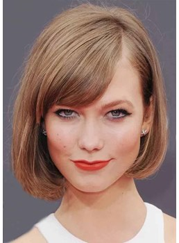 Women's Side Swoop Bob Style Natural Straight Synthetic Hair Capless Wigs 12Inch