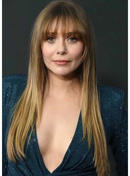 Sexy Women's Long And Straight Natural Looking Human Hair Wigs With Bangs Capless Wigs 24Inch