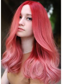 Sexy Women's Shoulder Length Pink Color Straight Synthetic Hair Capless Wigs 22Inch