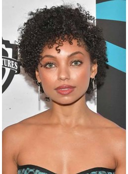 Natural Looking African American Women's Kinky Curly Human Hair Capless Wigs With Bangs 10Inch