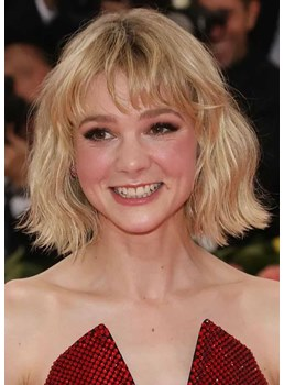 Women's Short Bob Hairstyles Wavy Bob With Bangs Synthetic Hair Capless Wigs 14Inch