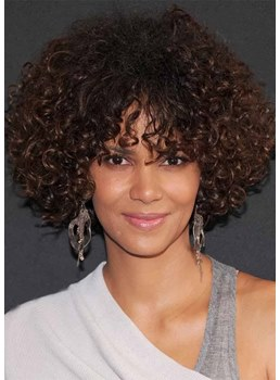 Medium Hairstyles Women's Bob Style Curly Human Hair Capless Wigs With Bangs 16Inch