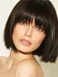 Short Straight Bob Wig 100% Human Hair With Full Bangs 10 Inches