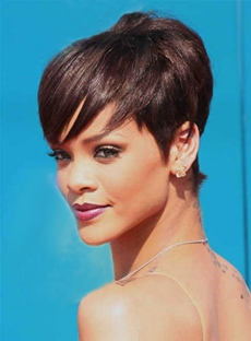Rihanna Sexy Beautiful Unique Hairstyle Short Straight Wig