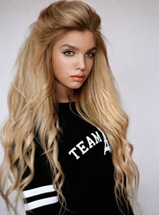 Trendy Long Natural Curly Hairstyle 150% Density Lace Front Wig Synthetic Hair 26 Inches