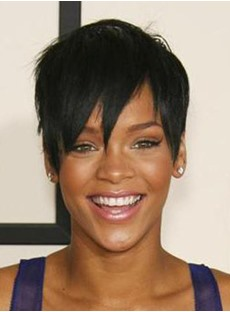 Custom Rihanna's Sexy Hair Style Super Short Straight Black Natural Wig 100% Human Hair