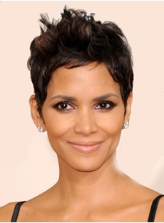 Halle Berry Synthetic Hair New Fashion Short Straight Natural Mono Top Wigs