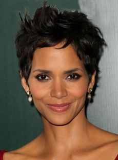 Halle Berry's Graceful Hair Style Hand Tied Super Natural Short Straight 4 Inches