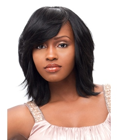 Medium Straight Jet Black Basic Layered Cut Human Hair Capless Wig 12 Inches