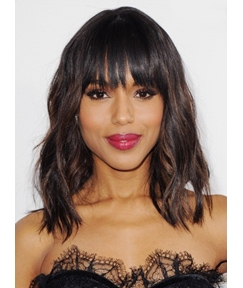 Kerry Washington Medium Loose Wavy Wig 100% Real Human Hair 14 Inches