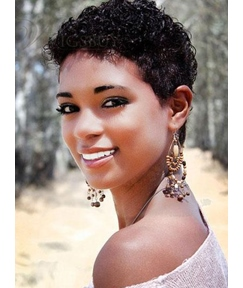 Exquisite Short Curly 100% Human Hair Natural Lady Full Lace Wig