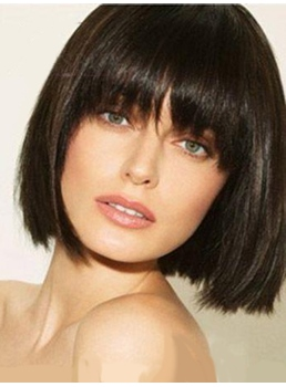Short Straight Bob Wig 100 Human Hair With Full Bangs 10 Inches