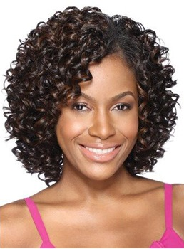 Synthetic Kinky Curly Middle Length Lace Front Women Wigs 12 Inches
