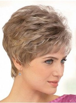 Hot Sale Top Quality Short Layered Wavy Wig 100% Human Hair