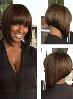 Full Bang Short Straight Bob Hairstyle Synthetic Capless Wigs 10 Inches
