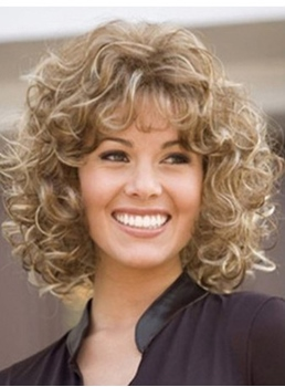 Sexy Medium Curly Blonde 16 Inches Synthetic Hair Wig