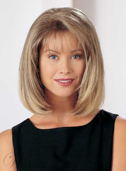 Elegant Medium Straight Capless Blonde 12 Inches Synthetic Hair Bob Wig 1820981