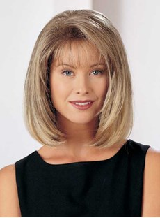 Straight Bob Medium Straight Capless 12 Inches Synthetic Capless Wigs