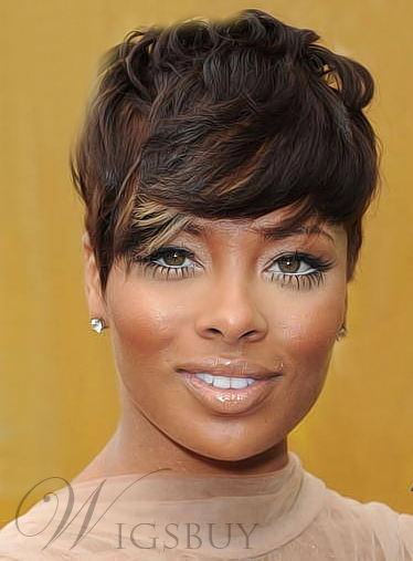 Short Wavy Layered Fringe Capless Synthetic Wigs