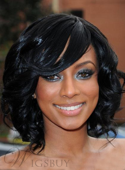 Keri Hilson Beatiful Graceful Medium Black Curly 12 Hair Wig