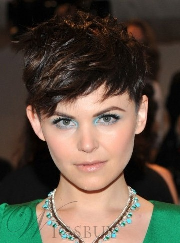 Ginnifer Goodwin Short Choppy Hairstyles Short Straight Dark Brown Perfect Wig