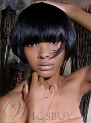 Custom New Arrival Bob Hairstyle Short Straight 6 Inches Black Wig