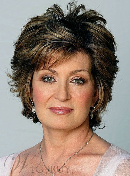 Layered Synthetic Hair Short Wavy 8 Inches Capless Wigs For Older