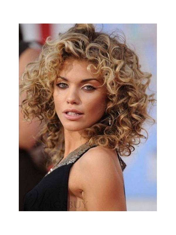 Deluxe Cheap Loose Short Curly Front Lace Wig 100% Real Human Hair 14 Inches