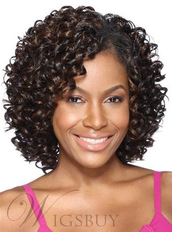 Synthetic Kinky Curly Middle Length Lace Front Women Wigs