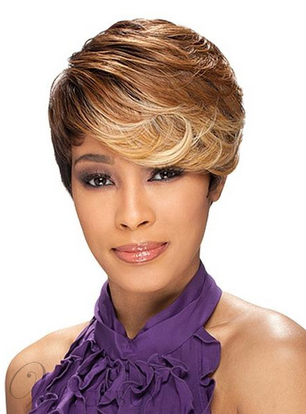 Specially-designed Afro Hairstyle Short Wavy Mixed Color Wig for Fashion Lady