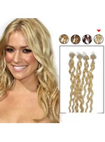 100s Micro Loop Ring Human Hair Extensions Curly(#613 Lightest Blonde)