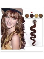 Wavy Dark Auburn Remy Human Hair Micro Loop Ring Hair Extensions