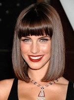 Elegant Charming Middle Straight Full Bang Capless Human Hair Wigs 12 inches