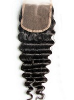 New Deep Wave Unprocessed Human Hair Lace Closures 5*5
