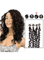 Curly Dark Brown (#2) 100S Human Hair Micro Loop Ring Hair Extensions