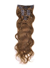 Wavy Light Chestnut (#8) 7PCS Clip in Remy Human Hair Extensions