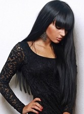 Monofilament Top Best 100% Remy Human Hair Long Straight Black Wig 24 Inches