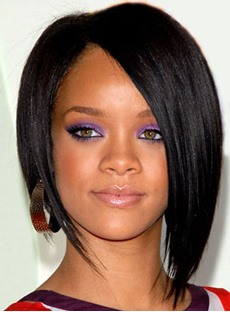 Custom Rihanna's Sexy Short Straight Bob Hairstyle Hand Made Classical Black Lace Wig For Your Beutiful Face