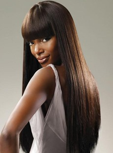 Long Straight Full Bang Synthetic Capless Wigs