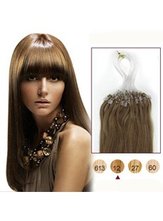 Golden Brown(#12) 50S Micro Loop Ring Human Hair Extensions