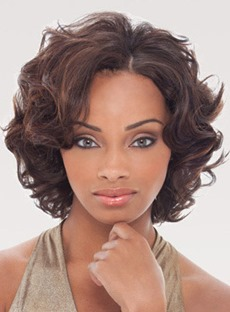 Beautiful Fluffy Short Curly Lace Front Wig 100% Human Hair 10 Inches