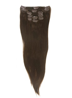 # 4 Medium Brown 7 Piece Silky Straight Clip In Human Hair Extension